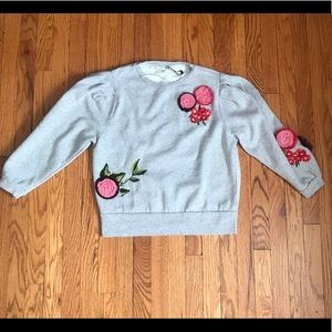 Zara embroidered 🌺🍃🌸crew neck sweatshirt